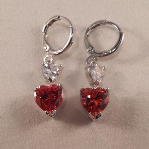 18k WGF Ruby Red Topaz Zircon 2 Hearts Earrings